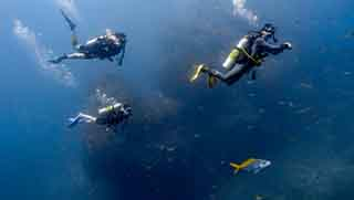 PADI Advanced open water divers swimming in the middle of blue water next to a pinnacle underwater